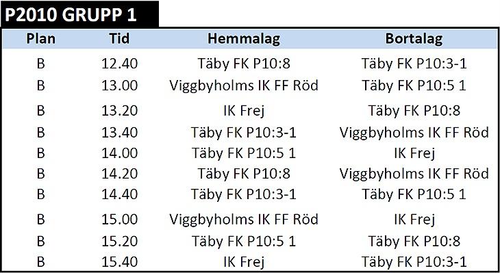 Spelschema Lag 1 - Kvarterscupen 6 6   Täby FK - P10 3 Gribbylund ... b91818af1580d