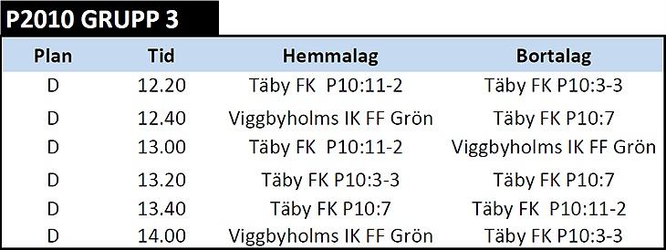 Spelschema Lag 3 - Kvarterscupen 6 6   Täby FK - P10 3 Gribbylund ... 0132c8065afa6