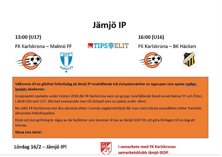 På lördag (16 2) spelar våra oerhört lovande U16   U17 slutspelsmatcher i  Akademi-turneringen Ligacupen. Malmö FF   BK Häcken kommer på besök och det  kommer ... a02e9f16f8bef