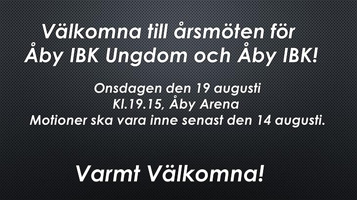 Varmt välkomna till årsmöten för Åby Oilers 198 Åby IBK