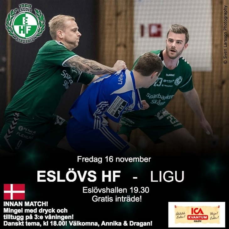 Hemmamatch på fredag! Eslövs HF Svenskalag.se